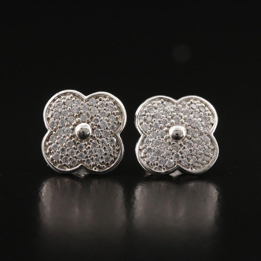 Sterling Silver Cubic Zirconia Pavé Quatrefoil Stud Earrings