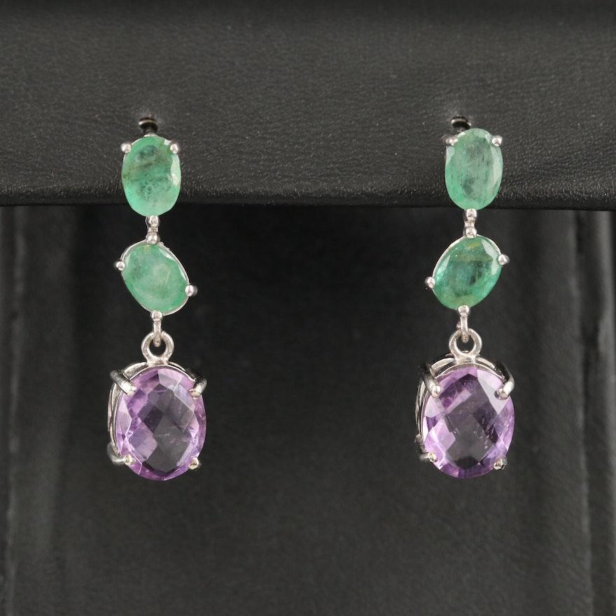 Sterling Emerald and Amethyst Dangle Earrings