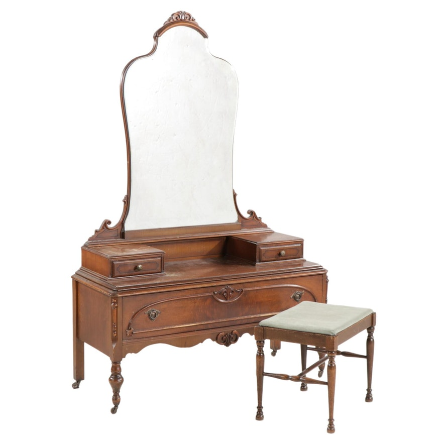 Colonial Style Wood Vanity Table with Mirror and Upholstered Stool