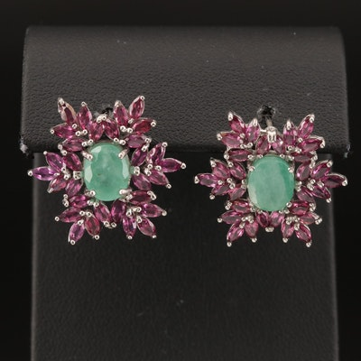 Sterling Emerald and Rhodolite Garnet Earrings