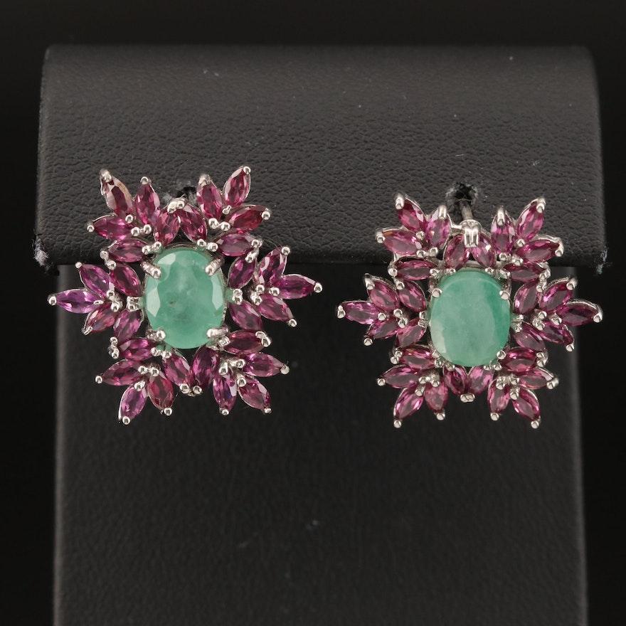 Sterling Emerald and Rhodolite Garnet Earrings