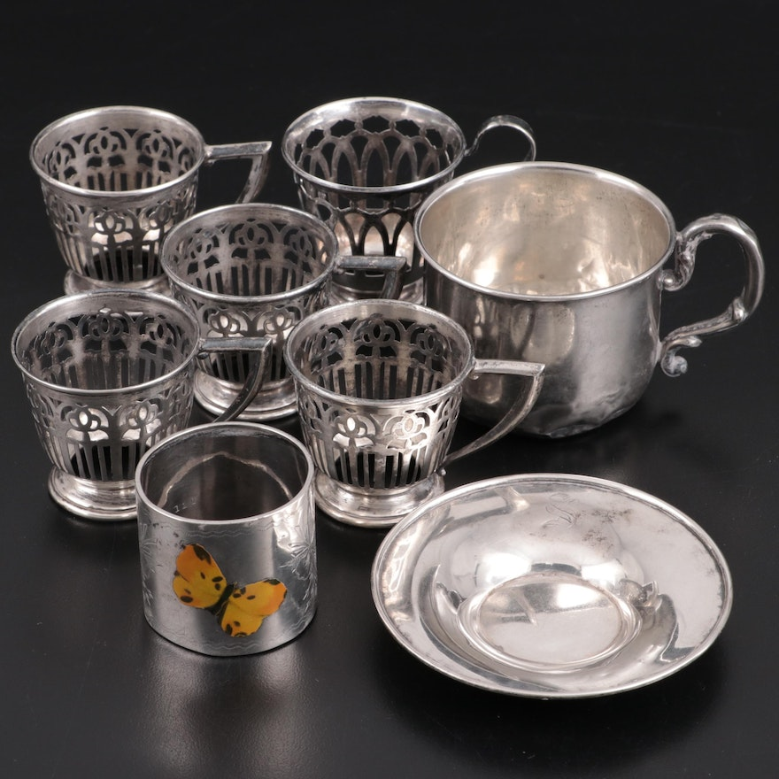 Frank M. Whiting Sterling Silver Demitasse Zarfs, Webster Keepsake Cup, and More