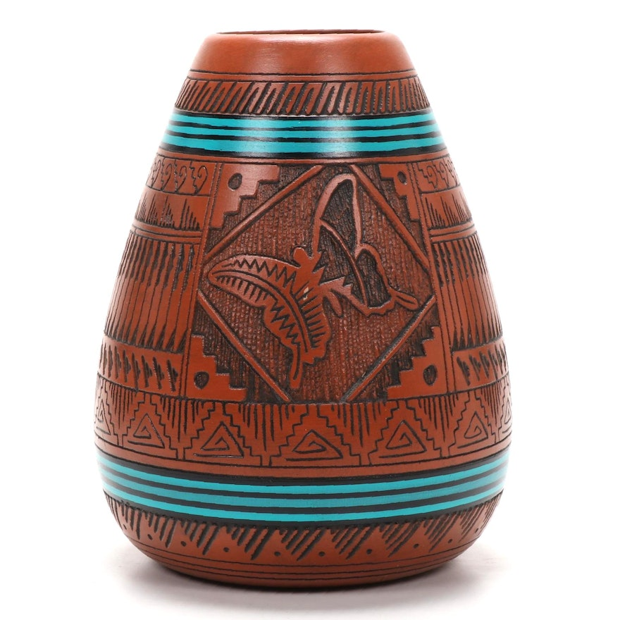 """Ernest and Shyla Watchman Navajo Etched """"Butterfly"""" Pottery"""