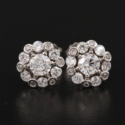 Sterling Silver Cubic Zirconia Halo Earrings