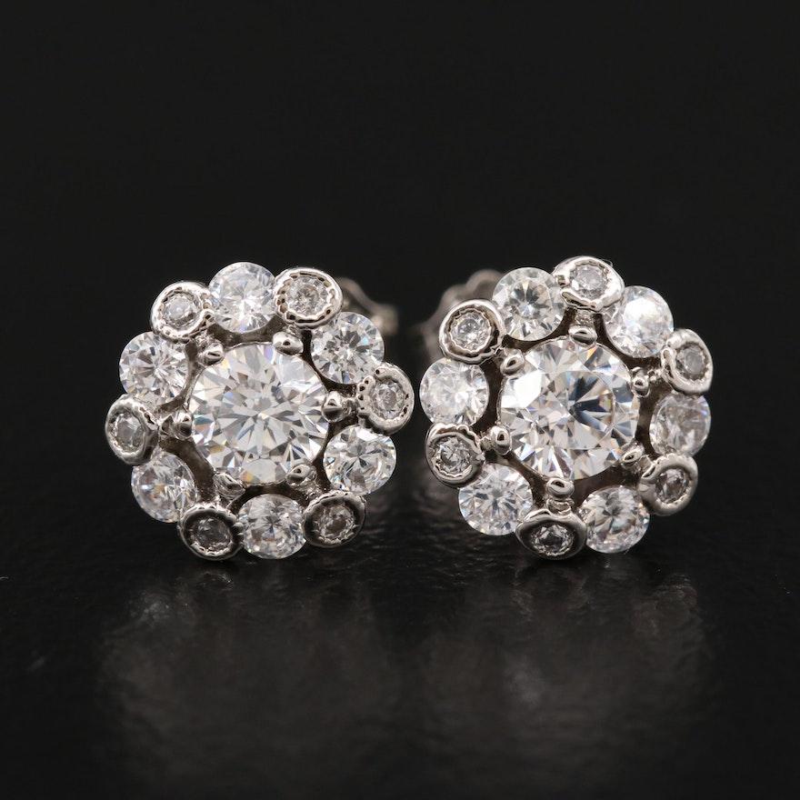 Sterling Silver Cubic Zirconia Halo Earrings