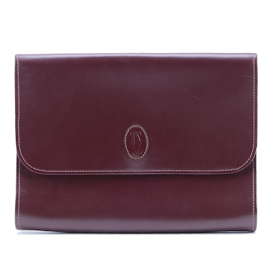 Must du Cartier Clutch in Burgundy Leather