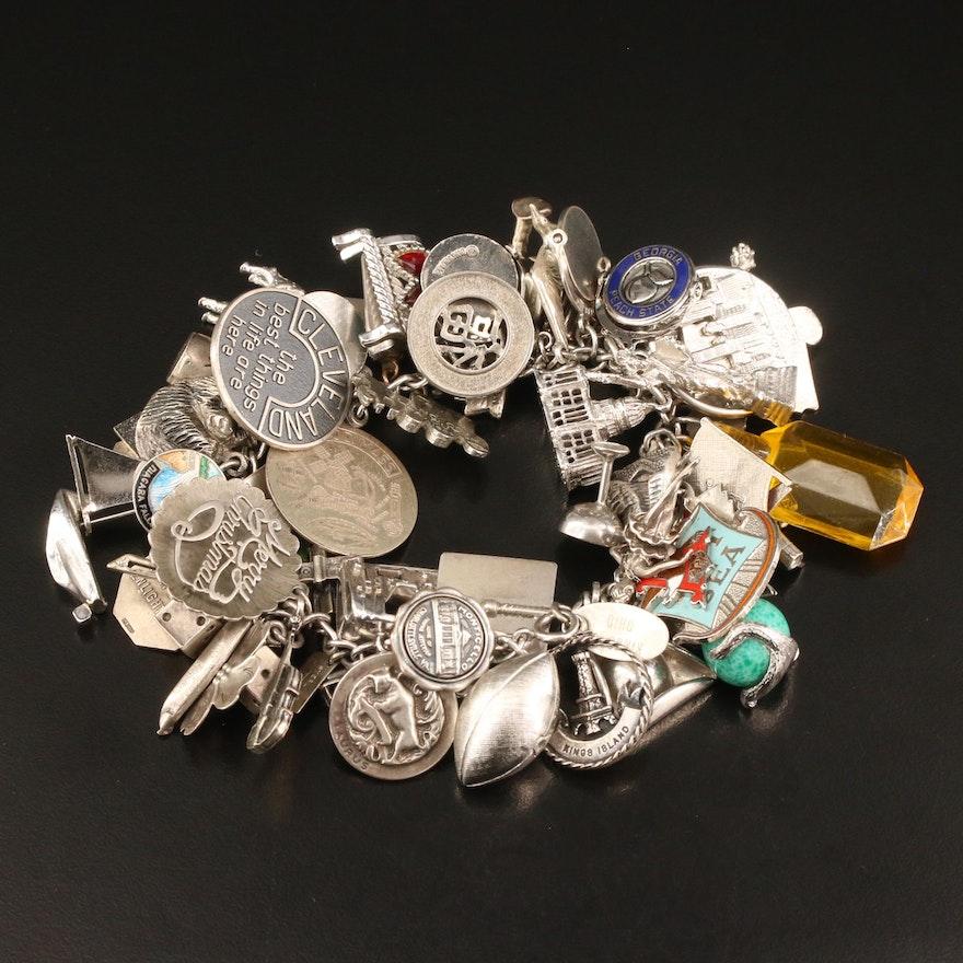 Vintage Sterling Silver Charm Bracelet Featuring Stuart Nye Dogwood Charm