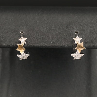 Sterling Cubic Zirconia Star Huggie Earrings