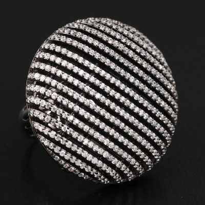 Sterling Silver Cubic Zirconia Multi-Row Circle Ring