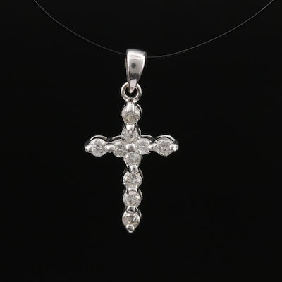 10K Diamond Cross Pendant