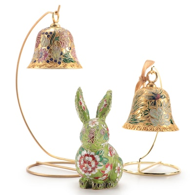 Chinese Brass and Enamel Cloisonné Bells and Rabbit Figurine