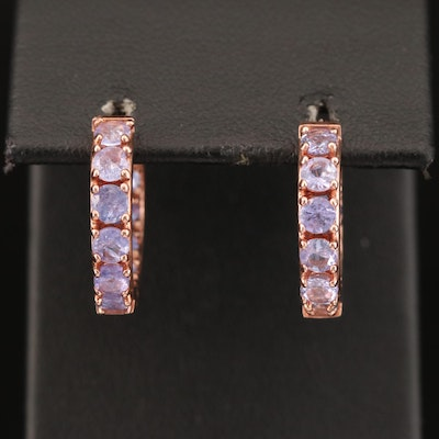 Sterling Tanzanite Hoop Earrings