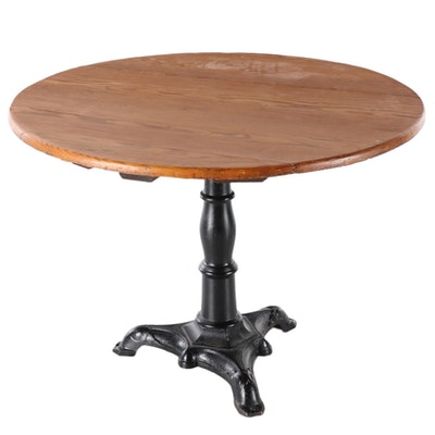 Pine and Cast Iron Pub Table, 20th Century