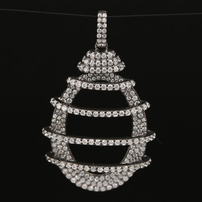 Sterling Cubic Zirconia Openwork Oval Necklace