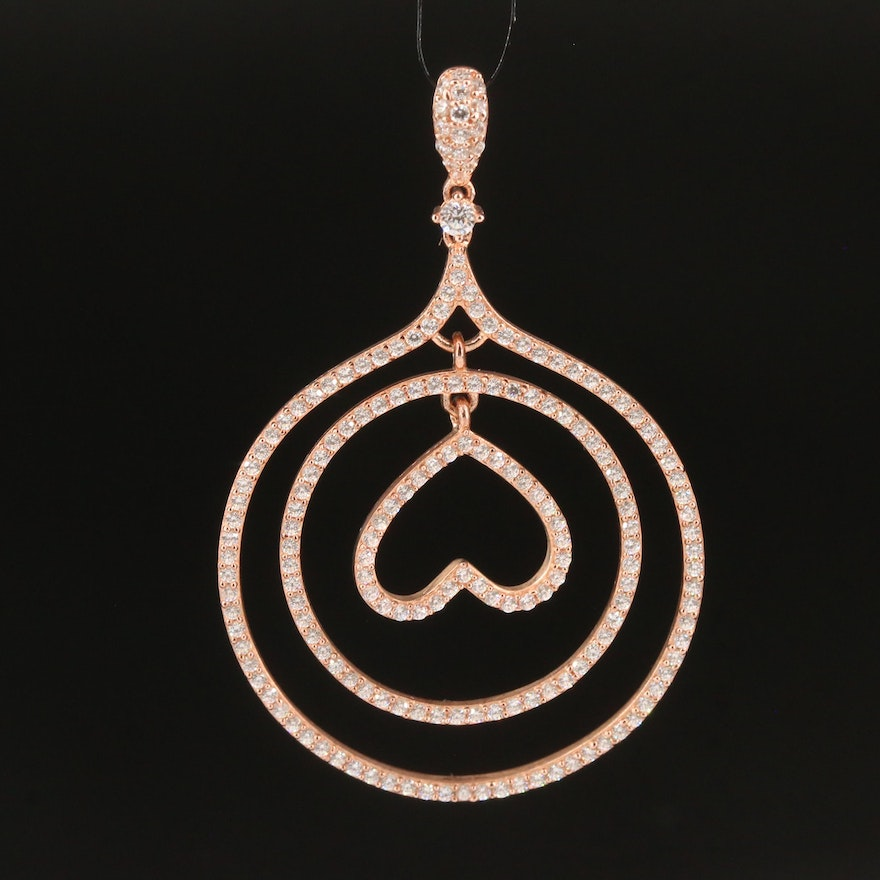 Sterling Silver Cubic Zirconia Circle and Heart Pendant