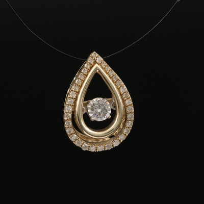 10K Diamond Teardrop Trembler Pendant