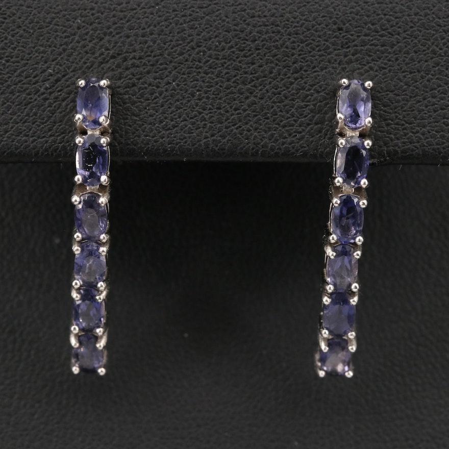 Sterling Iolite Dangle Earrings