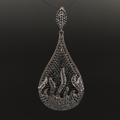 Sterling Spinel Teardrop Pendant