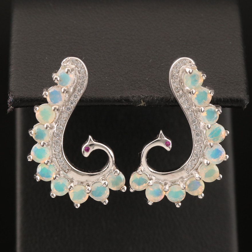 Sterling Opal, Ruby and Cubic Zirconia Peacock Earrings
