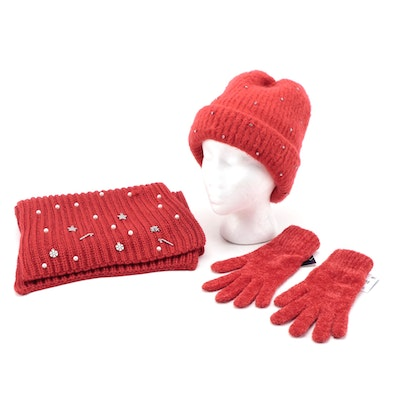 Charter Club Gloves and Embellished Scarf with INC Embellished Beanie in Red