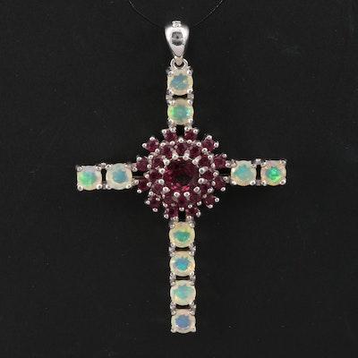 Sterling Silver Opal and Garnet Cross Pendant