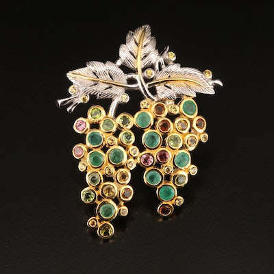Sterling Emerald, Tourmaline and Citrine Grape Cluster Brooch