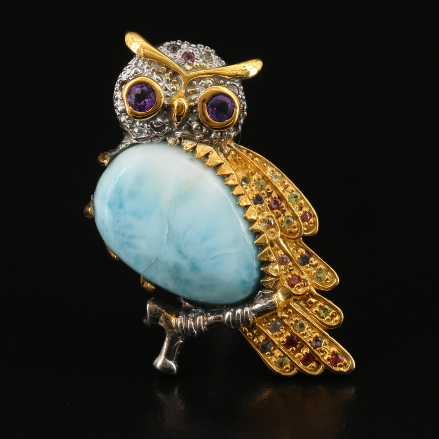 Sterling Silver Larimar, Amethyst and Sapphire Owl Brooch