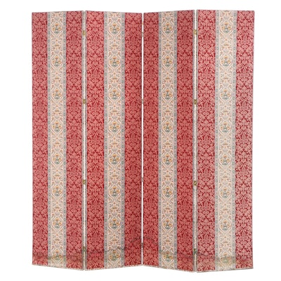 Damask Upholstered Pine Four-Panel Screen, Late 20th Century