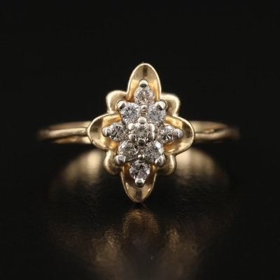 14K Diamond Star Cluster Ring