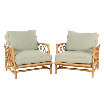 Pair of Ficks Reed Bamboo and Rattan Sunroom Lounge Chairs