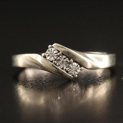 10K Illusion Set Diamond Bypass Ring
