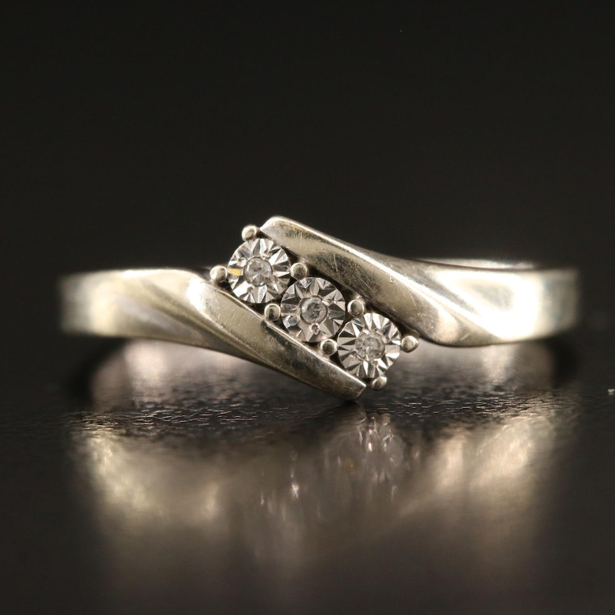 10K Illusion Set Diamond Bypass Ring