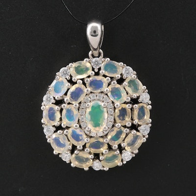 Sterling Silver Opal and Cubic Zirconia Pendant