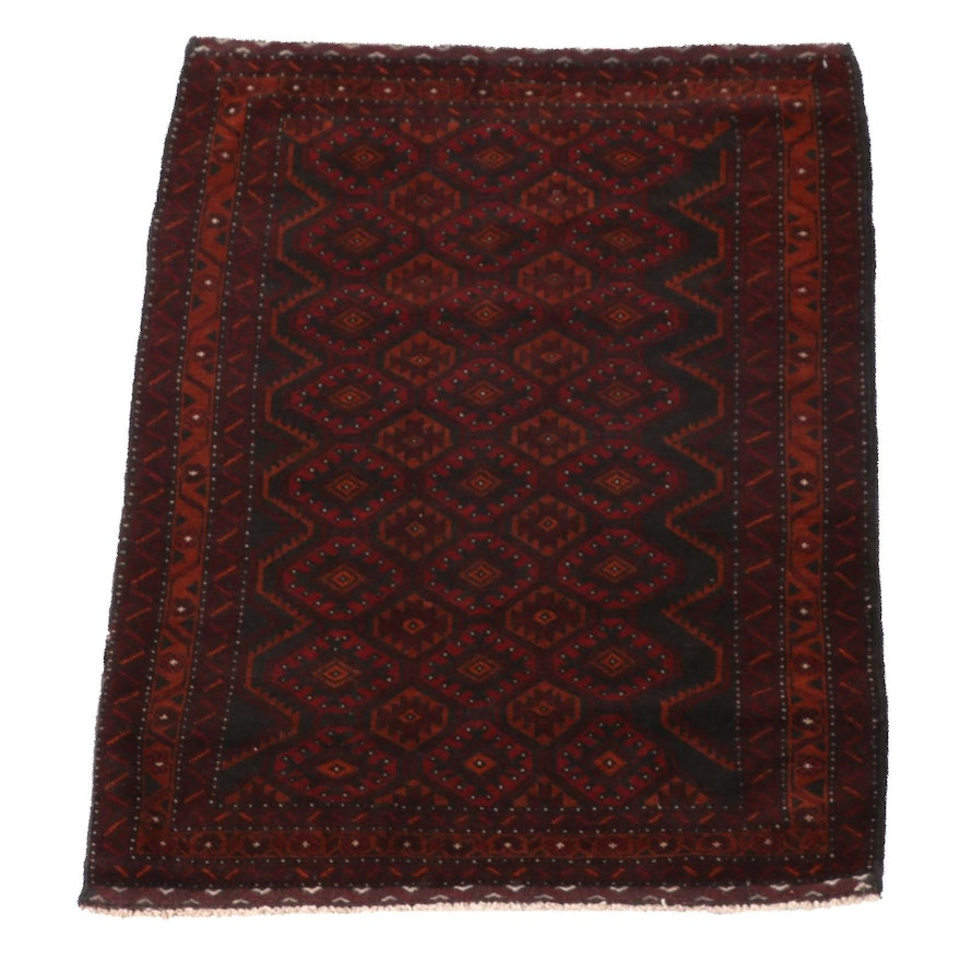 2'11 x 6'6 Hand-Knotted Afghan Baluch Wool Area Rug