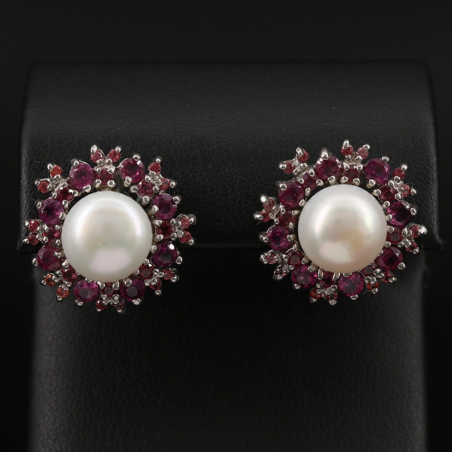 Sterling Silver Pearl, Garnet and Sapphire Button Earrings