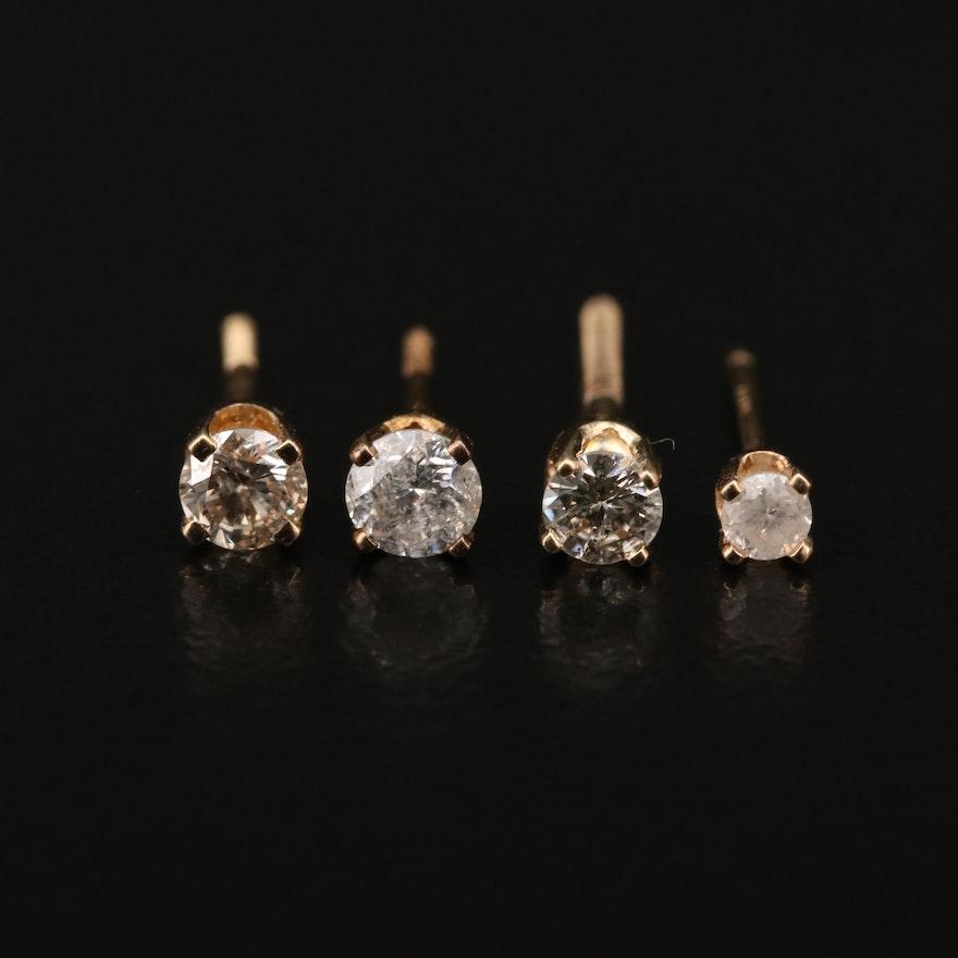 14K Diamond Single Stud Earrings
