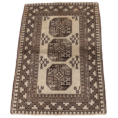 2'9 x 4'0 Hand-Knotted Afghan Baluch Wool Rug