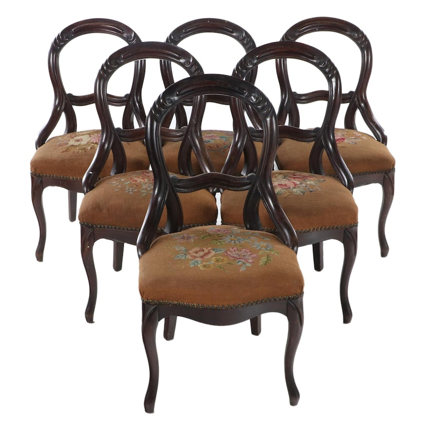 Six Victorian Walnut Needlepoint Upholstered Side Chairs, Late 19th Century