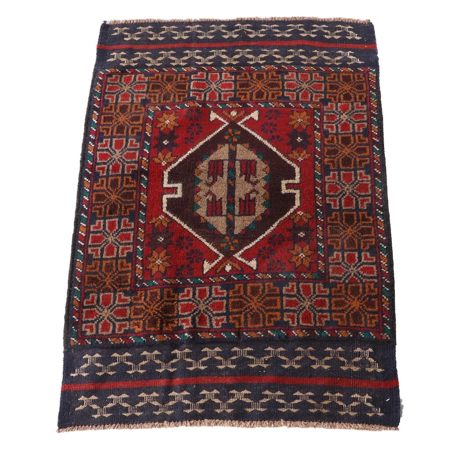 2'7 x 3'11 Hand-Knotted Afghan Baluch Wool Rug