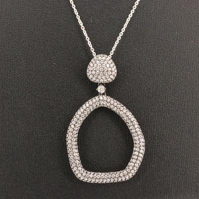 Sterling Silver Pavé Cubic Zirconia Drop Pendant Necklace
