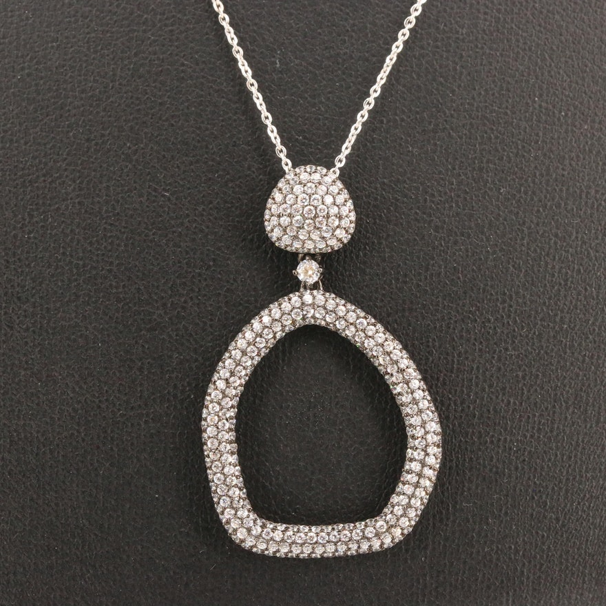 Sterling Silver Pavé Cubic Zirconia Drop Pendant Necklace