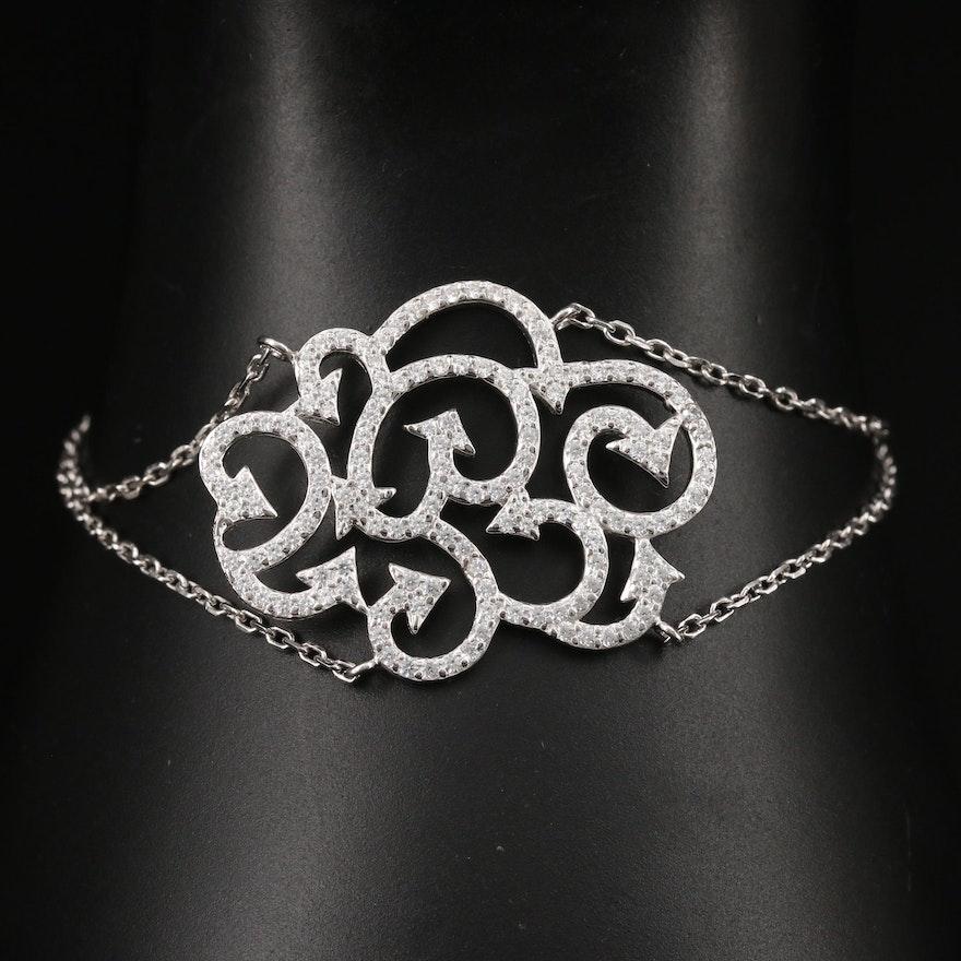 Sterling Silver Cubic Zirconia Arrows Motif Bracelet