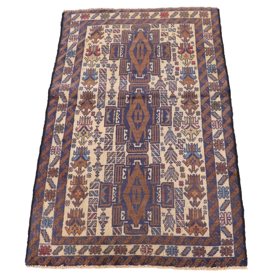 2'10 x 4'7 Hand-Knotted Afghan Baluch Wool Rug