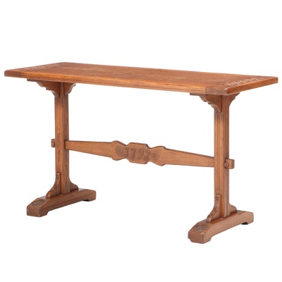 "Romweber Oak Trestle-Base Console Table dated ""1792"", 20th Century"