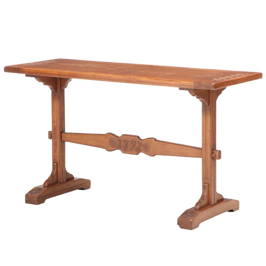 "Romweber Oak Trestle-Base Console Table dated ""1792"", 20th Century"
