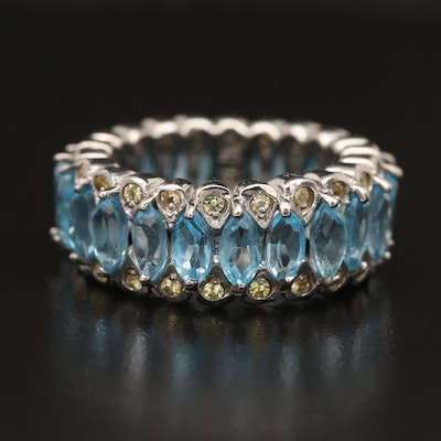 Sterling Topaz and Sapphire Eternity Band