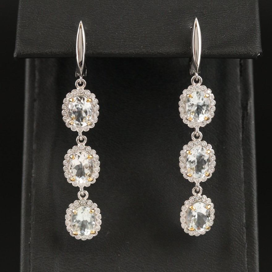 Sterling Aquamarine and Cubic Zirconia Earrings