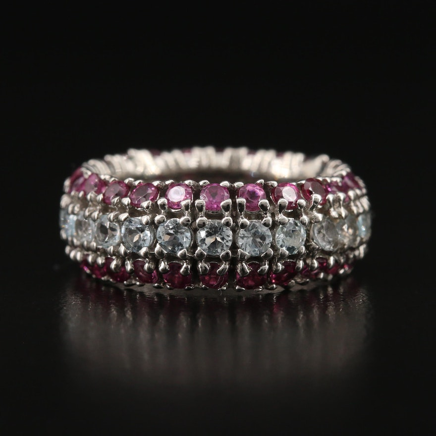 Sterling Silver Topaz and Garnet Eternity Band