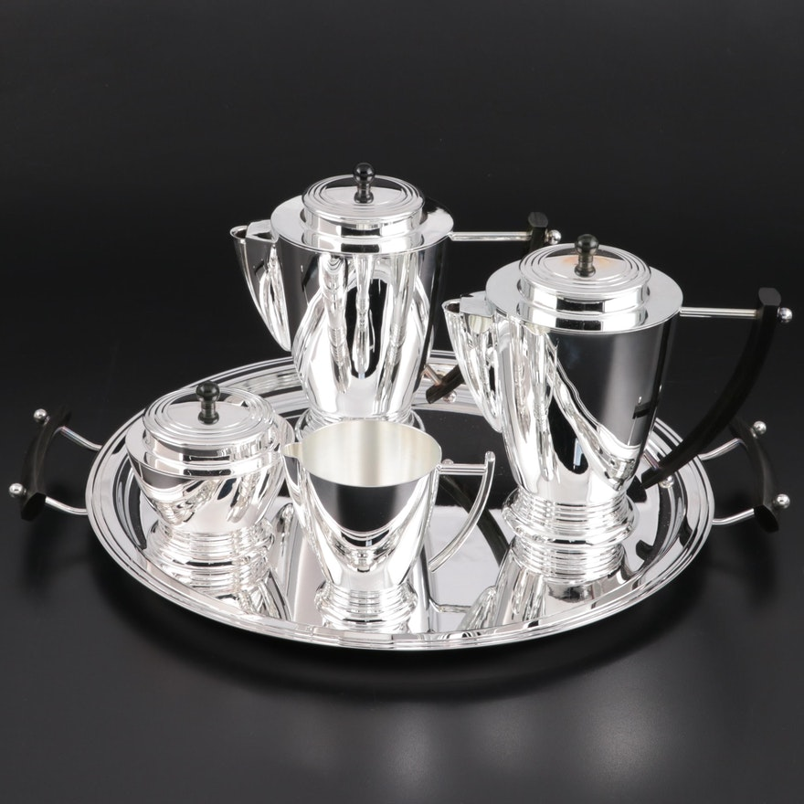 Christofle Art Deco Style Silver Plate Tea Set, Late 20th Century