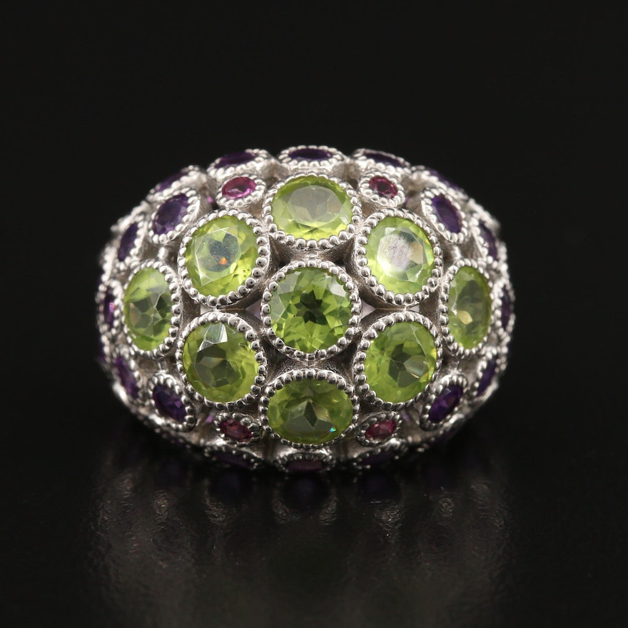 Sterling Silver Peridot and Amethyst Dome Ring
